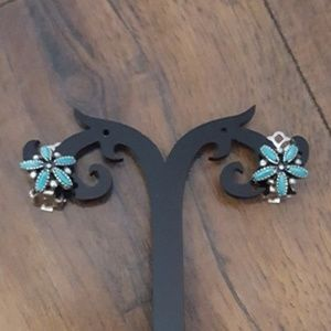 Vintage Turquoise & Silver Clip Ons